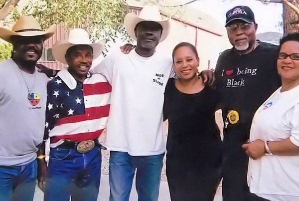 Hollywood actor and director Reggie T Dorsey, Charlie Sampson, Emmy Award winning Actor Glenn Turman and wife Denise, Veteran actor Roger Mosley and wife in 2013 in Lancaster California