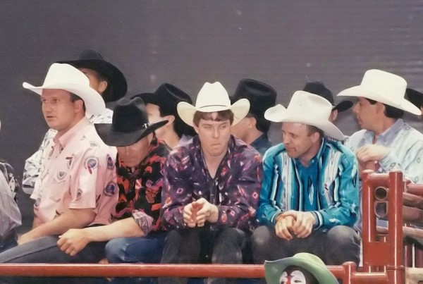 Arizona Cardinals Quarterback Tim Rosenbaum, NFR Qualifier Bull Riding Marty Staneart, 3x World Champion and Hall of Famer Tuff Hedeman, Many times NFR Bull Rider and Saddle Bronc Rider Cody Lambert with Leon Coffee looking on at a Bull Riders Only (BRO Event) in 1995 in Long Beach California