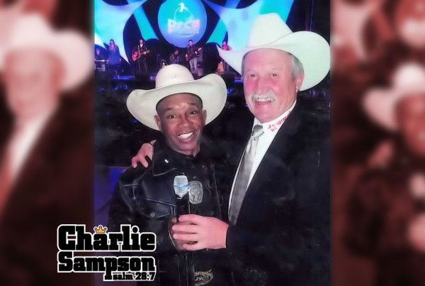 Charlie Sampson and Hall of Famer and Many times Wrangler NFR Announcer of the Year Bob Tallman 2013 PRCA Hall of Fame Legend Dinner