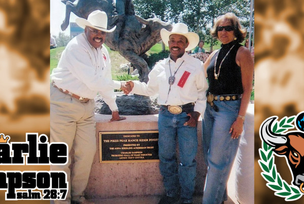 CEO and Founder of Bill Pickett Rodeo Invitational Lu Vason and wife Valaria with Charlie Sampson at the 2007 PRCA Hall of Fame Induction in Colorado Springs, Colorado