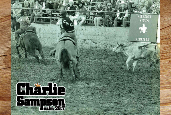 Charlie Sampson 1978 College Rodeo in Clovis Colorado roping with Gary Ellis with Casey Tibbs looking on