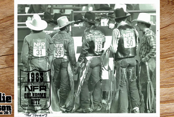 Charlie Sampson 1984 25th Anniversary NFR Oklahoma City (1985 World Champion Ted Nuce, Charlie Sampson, 2x Runner Up World Champion Bobby DelVecchio, 1983 NFR Champion Ricky Lindsay, 14x NFR Wacey Cathey