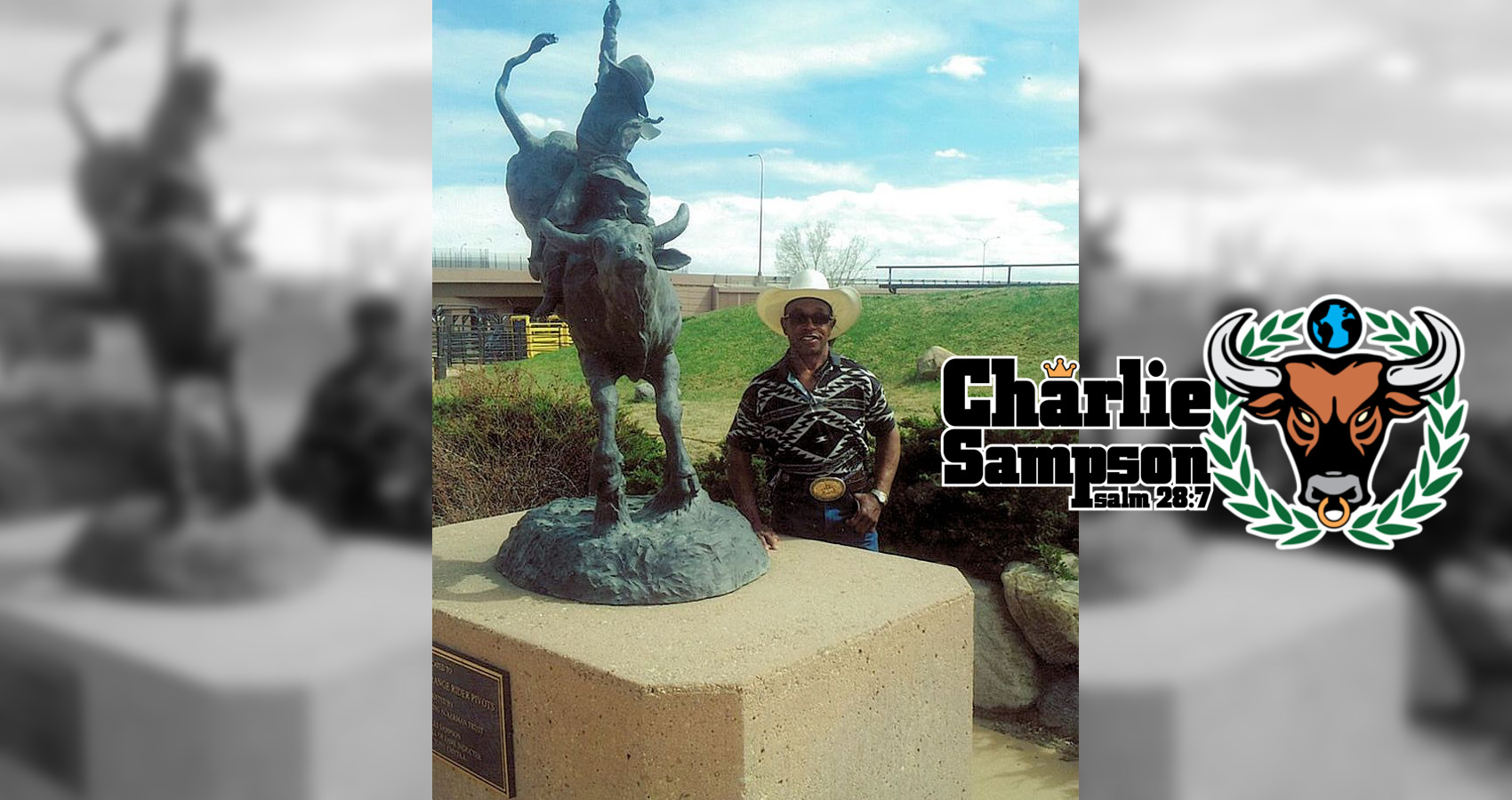 Charlie Sampson taking a picture next to his bronze in the PRCA Hall of Fame Garden in 2014