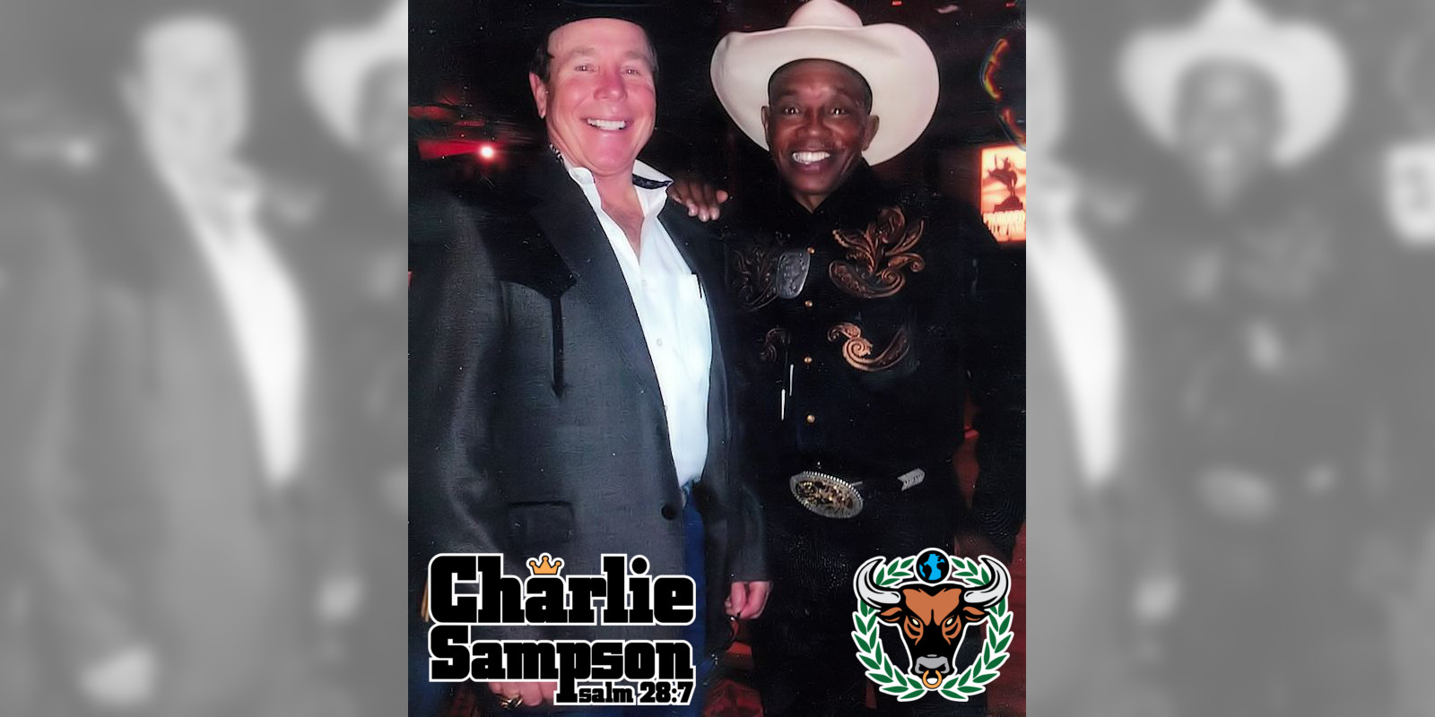 Charlie Sampson and 8x World Champion and PRCA Hall of Famer Bull Rider Donnie Gay being honored at the 2013 PRCA Legend Dinner in Las Vegas Nevada