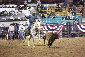 Maurice Wade competed in the calf roping event at the MLK Jr. Rodeo held during the National Western Stock Show in 2014